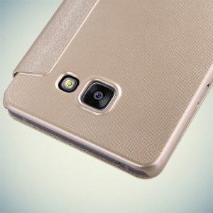 Nillkin с окном чехол книжка для Samsung Galaxy A7 2016 SM-A710F - Sparkle Case Золотой