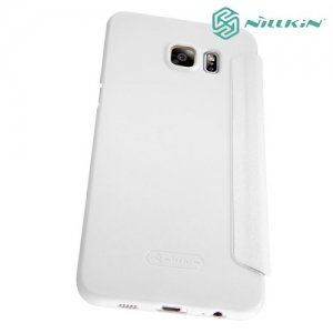 Nillkin с умным окном чехол книжка для Samsung Galaxy S6 Edge+ - Sparkle Case Белый