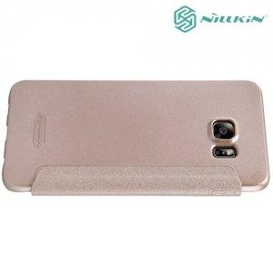 Nillkin с умным окном чехол книжка для Samsung Galaxy S6 Edge+ - Sparkle Case Золотой