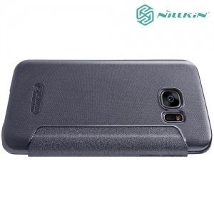 Nillkin с окном чехол книжка для Samsung Galaxy S7 - Sparkle Case Серый