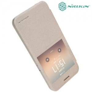Nillkin с окном чехол книжка для Samsung Galaxy S7 - Sparkle Case Золотой