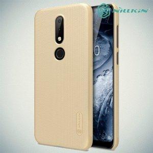 NILLKIN Super Frosted Shield Клип кейс накладка для Nokia 6.1 Plus / X6 2018 - Золотой