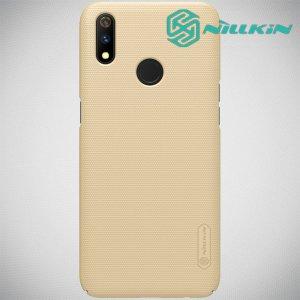 NILLKIN Super Frosted Shield Клип кейс накладка для Oppo Realme 3 Pro / X Lite - Золотой