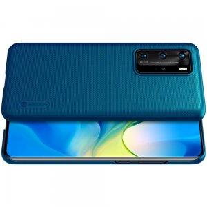 NILLKIN Super Frosted Shield Матовая Пластиковая Нескользящая Клип кейс накладка для Huawei P40 Pro - Синий