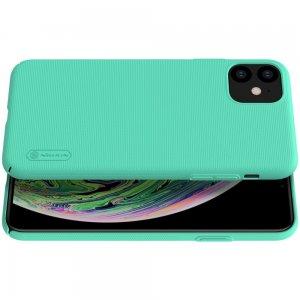 NILLKIN Super Frosted Shield Матовая Пластиковая Нескользящая Клип кейс накладка для iPhone 11 - Бирюзовый