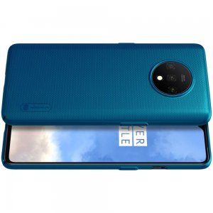 NILLKIN Super Frosted Shield Матовая Пластиковая Нескользящая Клип кейс накладка для OnePlus 7T - Синий
