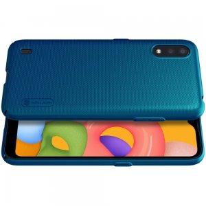 NILLKIN Super Frosted Shield Матовая Пластиковая Нескользящая Клип кейс накладка для Samsung Galaxy A01 - Синий