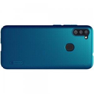 NILLKIN Super Frosted Shield Матовая Пластиковая Нескользящая Клип кейс накладка для Samsung Galaxy A11 - Синий