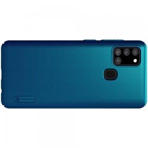 NILLKIN Super Frosted Shield Матовая Пластиковая Нескользящая Клип кейс накладка для Samsung Galaxy A21s - Синий