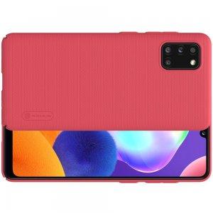 NILLKIN Super Frosted Shield Матовая Пластиковая Нескользящая Клип кейс накладка для Samsung Galaxy A31 - Красный