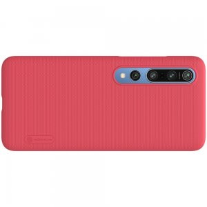 NILLKIN Super Frosted Shield Матовая Пластиковая Нескользящая Клип кейс накладка для Xiaomi Mi 10 / Mi 10 Pro / 10 Pro - Красный