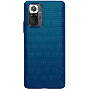 NILLKIN Super Frosted Shield Матовая Пластиковая Нескользящая Клип кейс накладка для Xiaomi Redmi Note 10 Pro - Синий