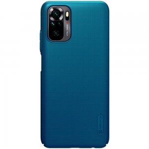 NILLKIN Super Frosted Shield Матовая Пластиковая Нескользящая Клип кейс накладка для Xiaomi Redmi Note 10 - Синий