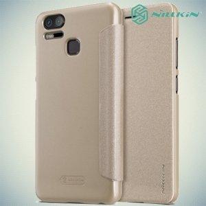 Nillkin ультра тонкий чехол книжка для Asus ZenFone 3 Zoom ZE553KL - Sparkle Case Золотой