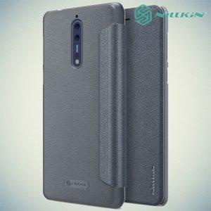 Nillkin ультра тонкий чехол книжка для Nokia 8 - Sparkle Case Серый