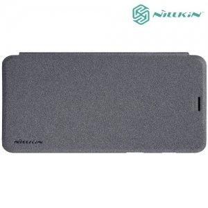 Nillkin ультра тонкий чехол книжка для Samsung Galaxy A8 2018 - Sparkle Case Серый