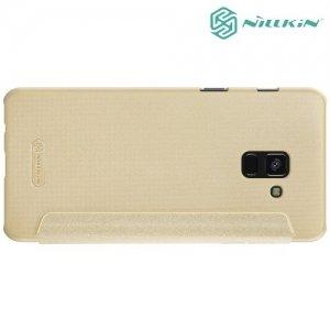 Nillkin ультра тонкий чехол книжка для Samsung Galaxy A8 2018 - Sparkle Case Золотой