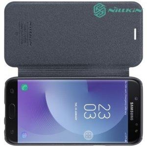 Nillkin ультра тонкий чехол книжка для Samsung Galaxy J7 2017 SM-J730F - Sparkle Case Серый