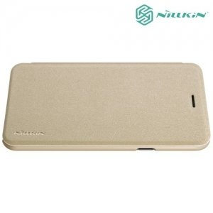 Nillkin ультра тонкий чехол книжка для Samsung Galaxy J7 Neo - Sparkle Case Золотой
