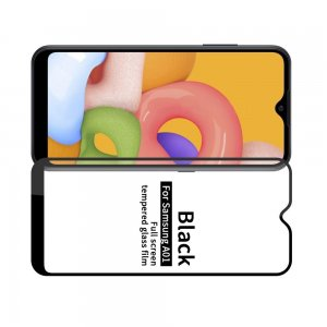 Олеофобное Закаленное Защитное Стекло для Samsung Galaxy A01 черное
