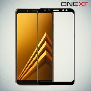 OneXT Закругленное защитное 3D стекло для Samsung Galaxy A8 2018 на весь экран - Черный