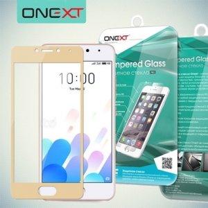 OneXT Защитное стекло для Meizu M5c на весь экран - Золотой