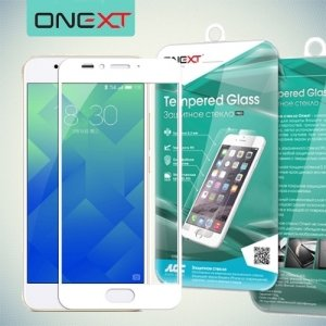 OneXT Защитное стекло для Meizu M5s на весь экран - Белый