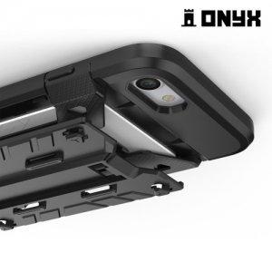 Противоударный чехол для iPhone 8/7 с отделением для карточки - Черный