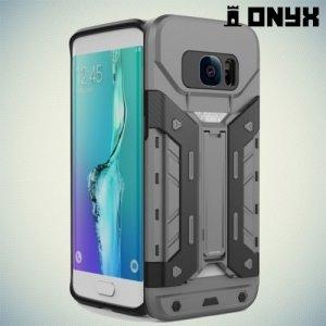 Противоударный чехол для Samsung Galaxy S7 Edge с отделением для карточки - Серый