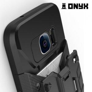 Противоударный чехол для Samsung Galaxy S7 с отделением для карточки - Серый
