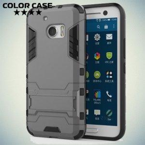 Противоударный гибридный чехол для HTC 10/10 Lifestyle - Серый
