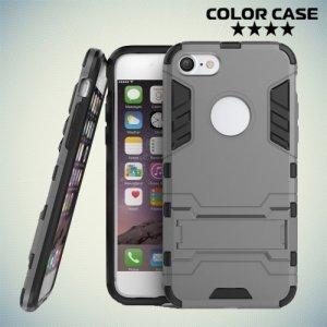 Противоударный гибридный чехол для iPhone 8/7 - Серый