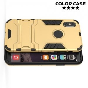 Противоударный гибридный чехол для iPhone Xs / X - Золотой