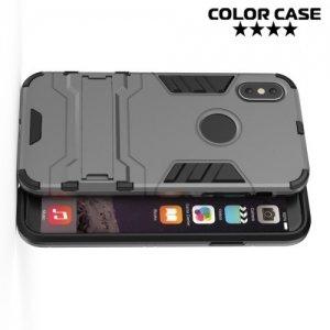 Противоударный гибридный чехол для iPhone 8 - Серый