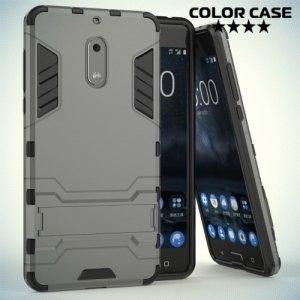 Противоударный гибридный чехол для Nokia 6 - Серый