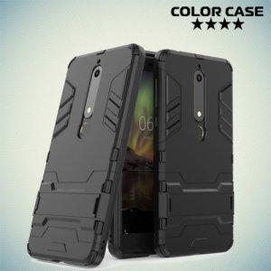 Противоударный гибридный чехол для Nokia 6.1 2018 - Черный