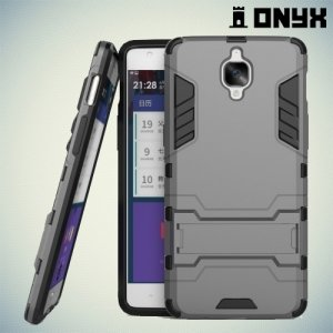 Противоударный гибридный чехол для OnePlus 3 - Серый
