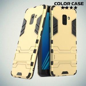 Противоударный гибридный чехол для Samsung Galaxy A8 Plus 2018 - Золотой