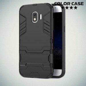 Противоударный гибридный чехол для Samsung Galaxy J2 (2018) SM-J250F - Черный