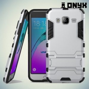Противоударный гибридный чехол для Samsung Galaxy J3 2016 SM-J320F - Серебряный