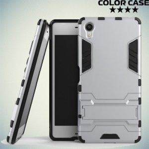 Противоударный гибридный чехол для Sony Xperia X - Серебряный