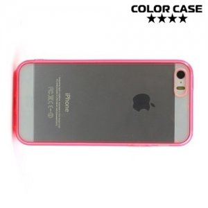 Прозрачный чехол на iPhone SE с розовыми ребрами