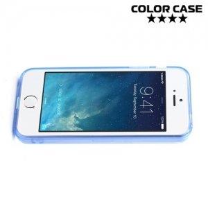 Прозрачный чехол на iPhone SE с голубыми ребрами