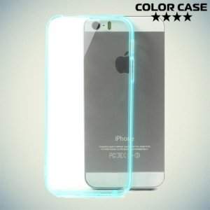 Прозрачный чехол на iPhone SE с бирюзовыми ребрами