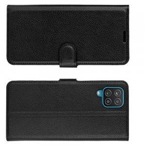 PU Кожаный Чехол Книжка с Кошельком и Подставкой для Samsung Galaxy A12 Черный