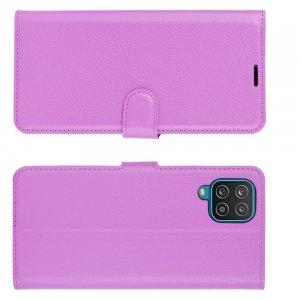 PU Кожаный Чехол Книжка с Кошельком и Подставкой для Samsung Galaxy A12 Фиолетовый