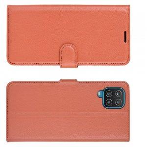 PU Кожаный Чехол Книжка с Кошельком и Подставкой для Samsung Galaxy A12 Коричневый