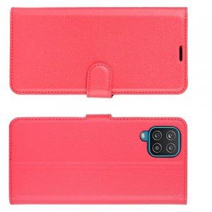 PU Кожаный Чехол Книжка с Кошельком и Подставкой для Samsung Galaxy A12 Красный