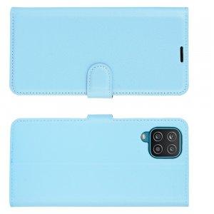 PU Кожаный Чехол Книжка с Кошельком и Подставкой для Samsung Galaxy A12 Синий