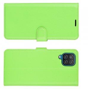 PU Кожаный Чехол Книжка с Кошельком и Подставкой для Samsung Galaxy A12 Зеленый